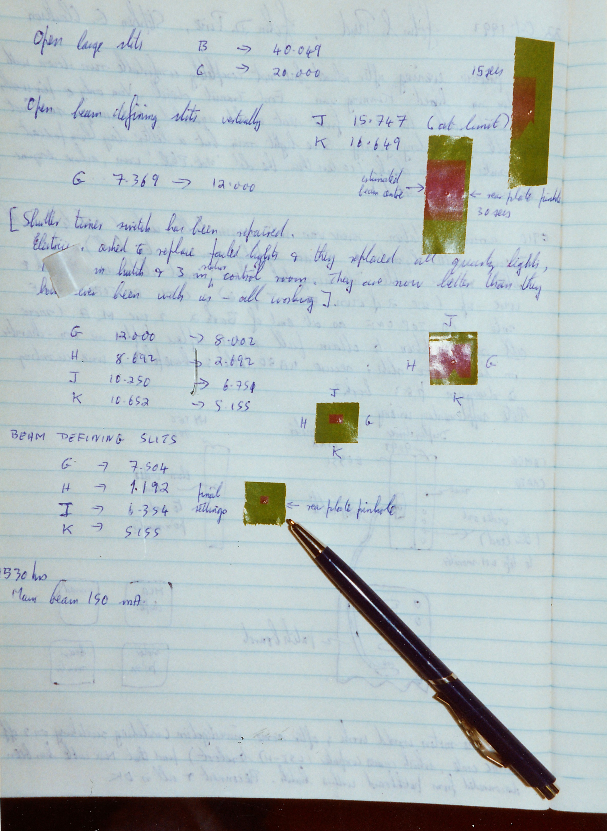 027Dares028.jpg - Lab notebook, setting the beam size at station 7.6 using X-ray sensitive 'green paper', Oct 1992